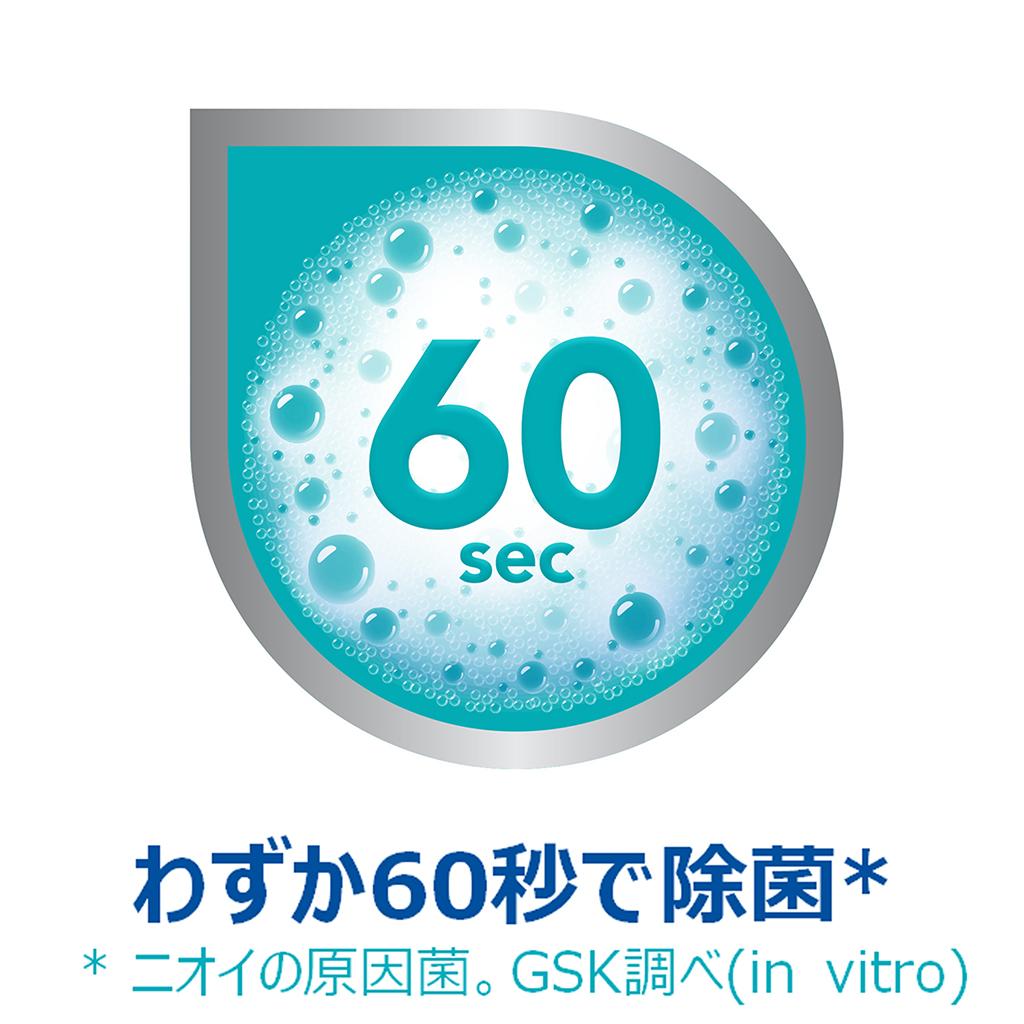 ポリデント デンタルラボ 泡ウォッシュの特徴:ニオイの原因菌を60秒で99.99%除菌*